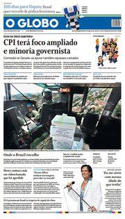 Capa do Jornal O Globo Edição 2021-04-14