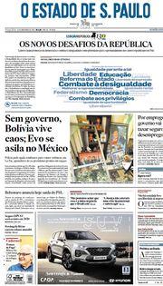 Capa do Jornal O Estado de S. Paulo Edição 2019-11-12