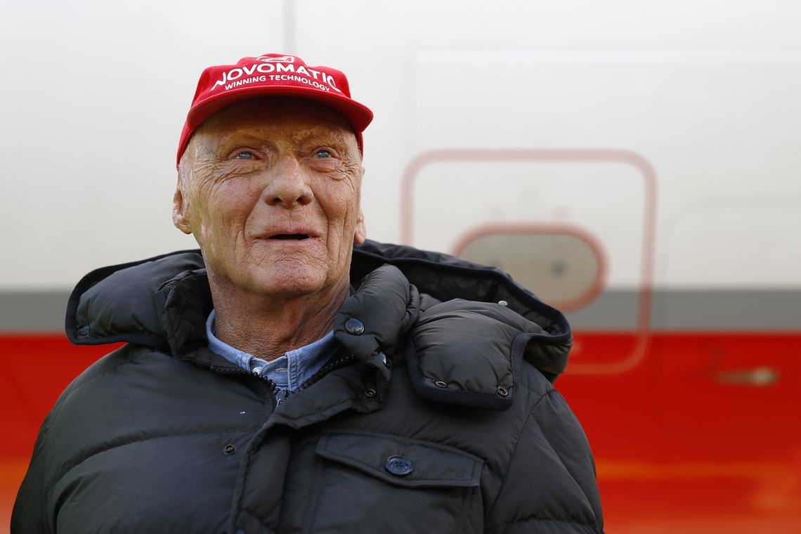Niki Lauda poses at the airport in Duesseldorf, Germany, March 20, 2018. REUTERS/Leonhard Foeger