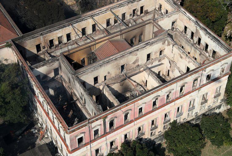 Vista aérea do Museu Nacional do Rio de Janeiro, na Quinta da Boa Vista, no Rio de Janeiro