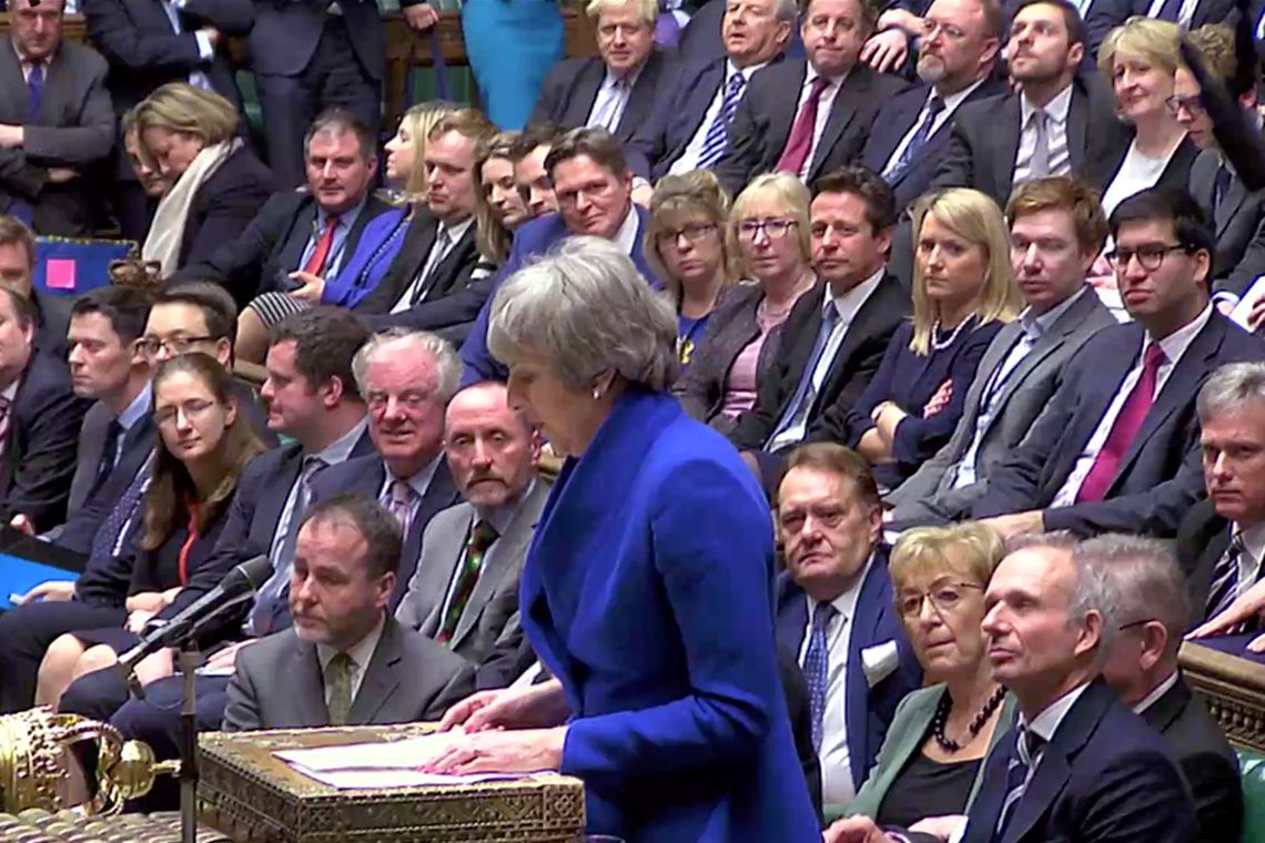 British Prime Minister Theresa May speaks after winning a confidence vote, after Parliament rejected her Brexit deal, in London, Britain, January 16, 2019, in this screen grab taken from video. Reuters TV via REUTERS