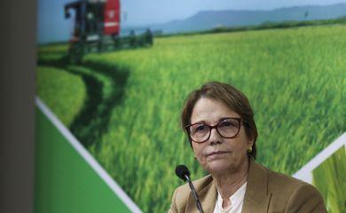 A ministra Tereza Cristina, fala sobre o Acordo Mercosul-União Europeia, durante  entrevista coletiva