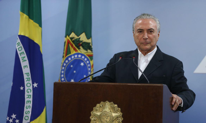 Presidente Michel Temer durante pronunciamento oficial no Planalto