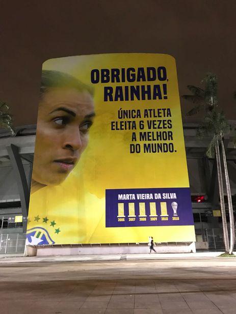Painel de Marta no Maracanã
