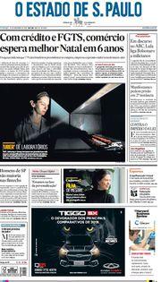 Capa do Jornal O Estado de S. Paulo Edição 2019-11-10