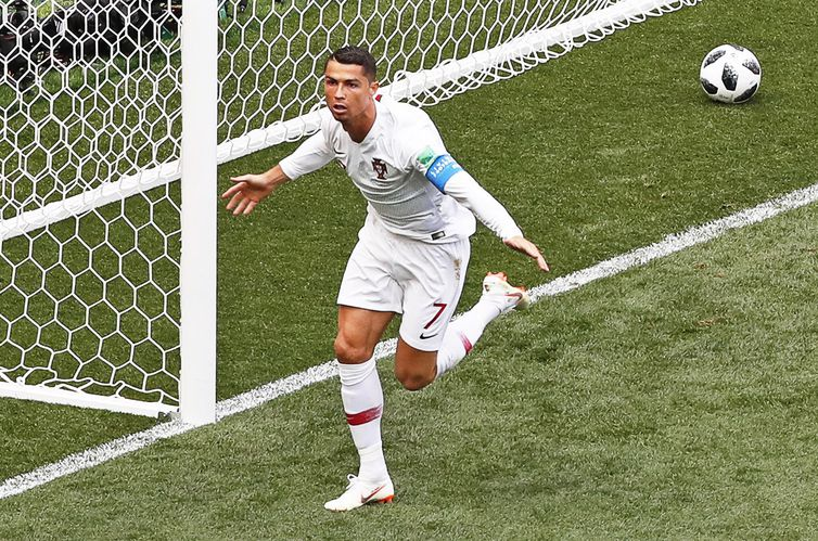 Moscow (Russian Federation), 20/06/2018.- Cristiano Ronaldo of Portugal celebrates after scoring the 1-0 lead during the FIFA World Cup 2018 group B preliminary round soccer match between Portugal and Morocco in Moscow, Russia, 20 June 2018.