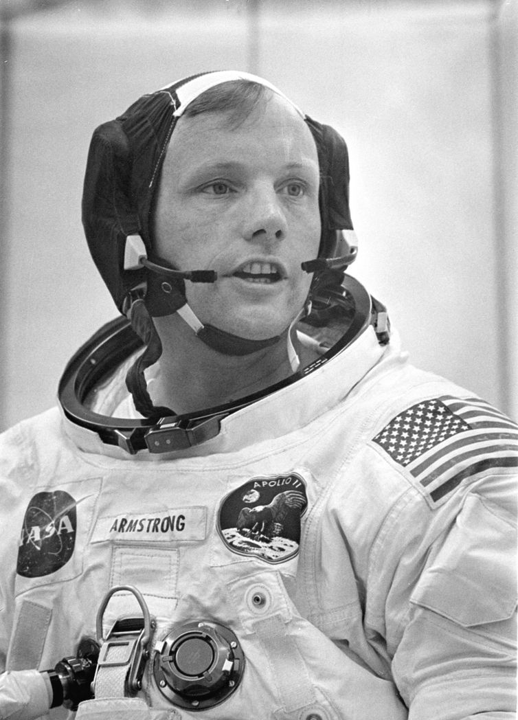 APOLLO 11 COMMANDER NEIL A. ARMSTRONG IN SPACESUIT.