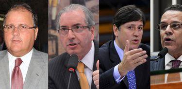 Os ex-deputados do MDB Geddel Vieira Lima, Eduardo Cunha, Rodrigo Rocha Loures e Henrique Eduardo Alves,
