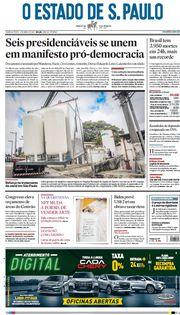 Capa do Jornal O Estado de S. Paulo Edição 2021-04-01