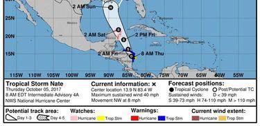 As projeções indicam que Nate se deslocará para o norte através do litoral caribenho da América Central e do México e pode se transformar em furacão no sábado