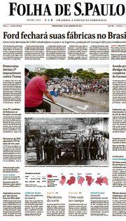 Capa do Jornal Folha de S. Paulo Edição 2021-01-12