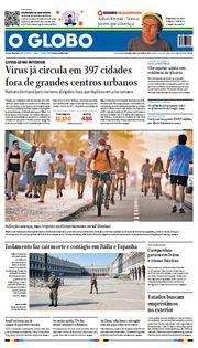 Capa do Jornal O Globo Edição 2020-04-06