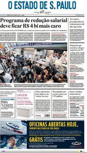 Capa do Jornal O Estado de S. Paulo Edição 2021-04-02