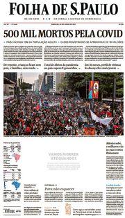 Capa do Jornal Folha de S. Paulo Edição 2021-06-20
