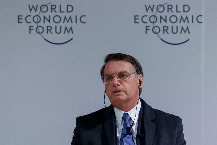 O Presidente da República, Jair Bolsonaro,durante reunião do Conselho Internacional de Negócios no Fórum Econômico Mundial em Davos