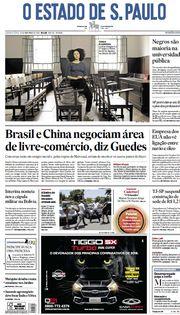 Capa do Jornal O Estado de S. Paulo Edição 2019-11-14