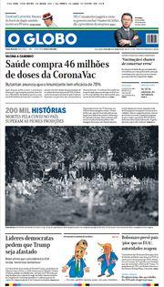 Capa do Jornal O Globo Edição 2021-01-08