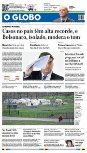 Capa do Jornal O Globo Edição 2020-04-01