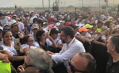 Ministro das Relações Exteriores, Ernesto Araújo, em Cúcuta, Colômbia, fronteira com a Venezuela, durante reunião com os presidentes da Colômbia, Chile e Paraguai e líderes venezuelanos.