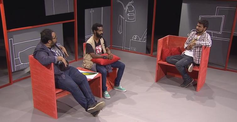 Alan Ribeiro e os atores Isaú Junior e Léo Negresco, do Canal Ixi
