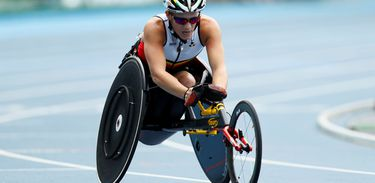 FILE PHOTO: REFILE - CORRECTING TYPO - 2016 Rio Paralympics - Women's 400m - T52 Final - Olympic Stadium - Rio de Janeiro, Brazil - 10/09/2016. Marieke Vervoort of Belgium wins the silver medal in the event.   REUTERS/Jason Cairnduff/File Photo