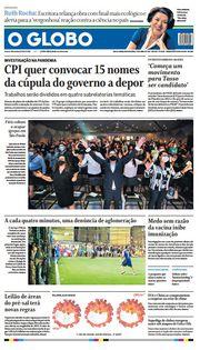 Capa do Jornal O Globo Edição 2021-04-19