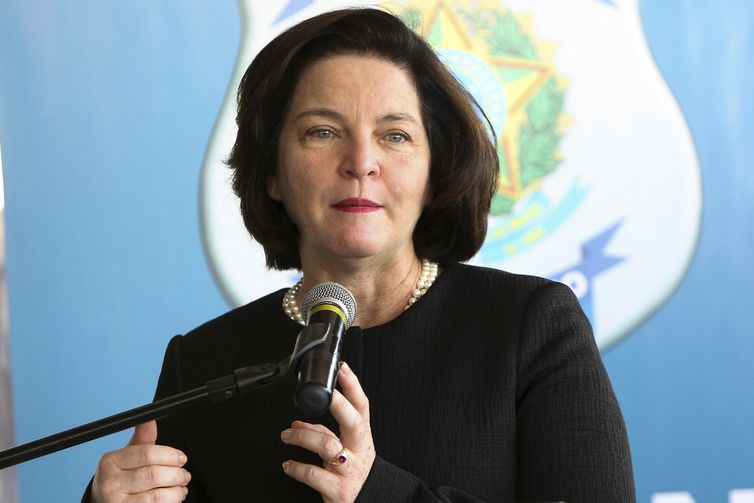 A procuradora-geral da República, Raquel Dodge, discursa na cerimônia de inauguração da penitenciária federal de segurança máxima de Brasília.