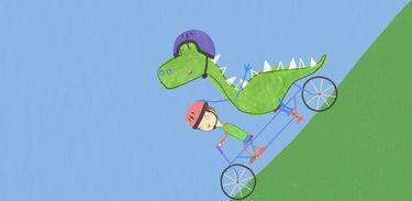 Pablo com seu amigo dinossauro