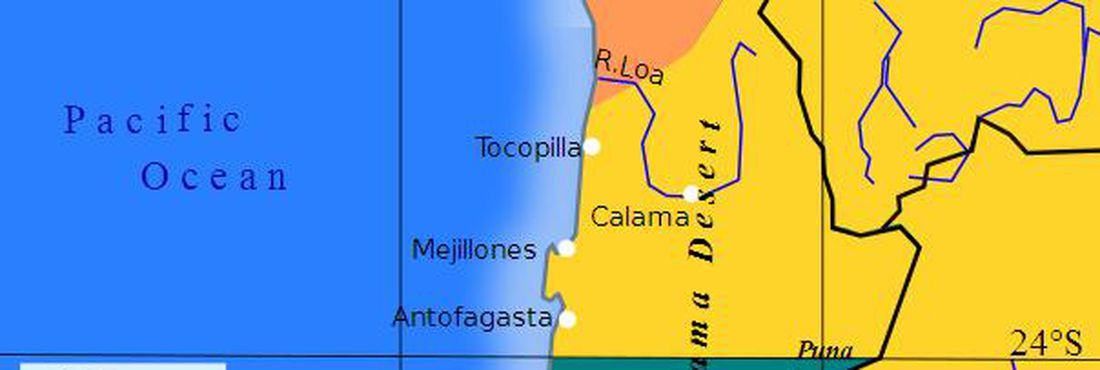 Territórios pré guerra (em cores) e pós guerra (linhas em preto) da Guerra do Pacífico mudaram geografia da América do Sul