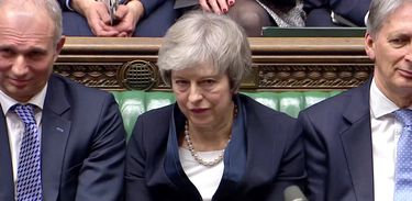 REFILE - QUALITY REPEAT  Prime Minister Theresa May sits down in Parliament after the vote on May's Brexit deal, in London, Britain, January 15, 2019 in this screengrab taken from video. Reuters TV via REUTERS