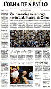 Capa do Jornal Folha de S. Paulo Edição 2021-01-19
