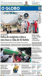 Capa do Jornal O Globo Edição 2021-01-16