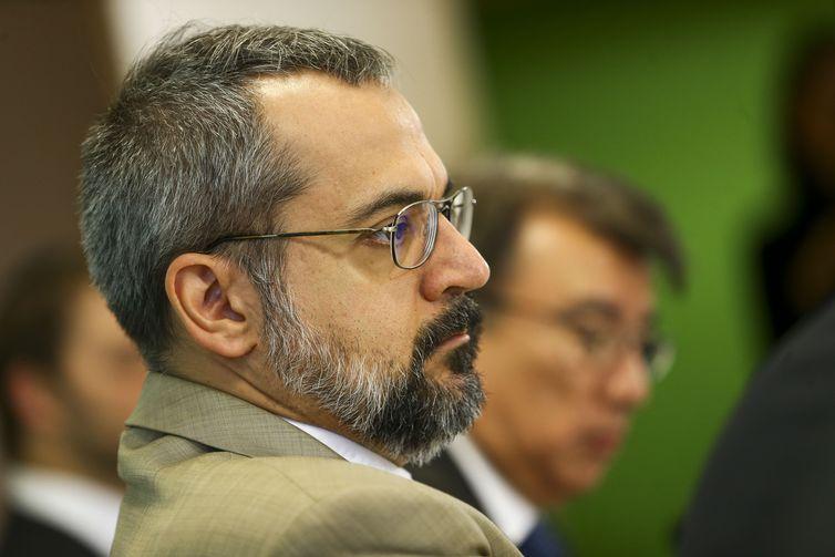O ministro da Educação, Abraham Weintraub, durante  apresentação do Compromisso Nacional pela Educação Básica.