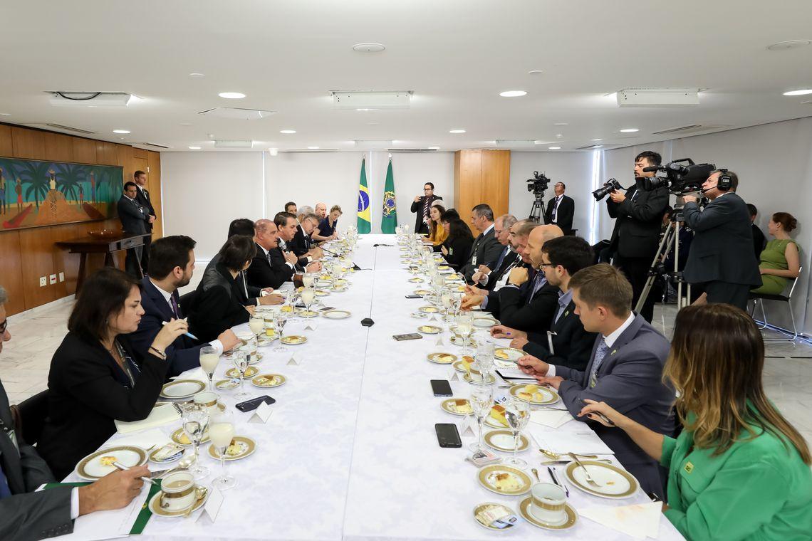 Presidente da República, Jair Bolsonaro, durante café da manhã com Jornalistas.
