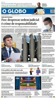 Capa do Jornal O Globo Edição 2021-09-09