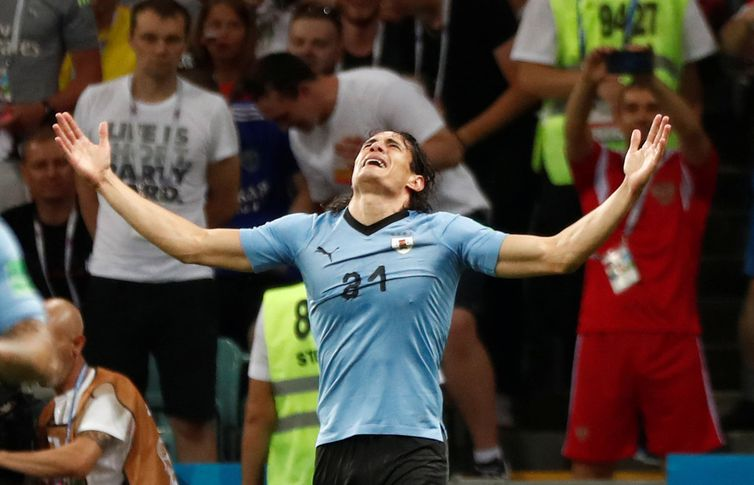 Soccer Football - World Cup - Round of 16 - Uruguay vs Portugal - Fisht Stadium, Sochi, Russia - June 30, 2018   Uruguay's Edinson Cavani celebrates scoring their first goal      REUTERS/Murad Sezer