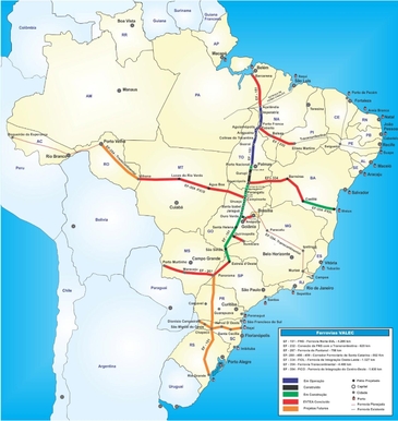 Mapa da Ferrovia Norte-Sul