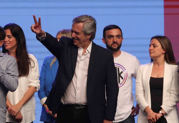 Presidential candidate Alberto Fernandez celebrates after election results in Buenos Aires, Argentina October 27, 2019. REUTERS/Agustin Marcarian