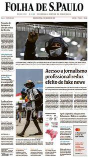 Capa do Jornal Folha de S. Paulo Edição 2021-01-11