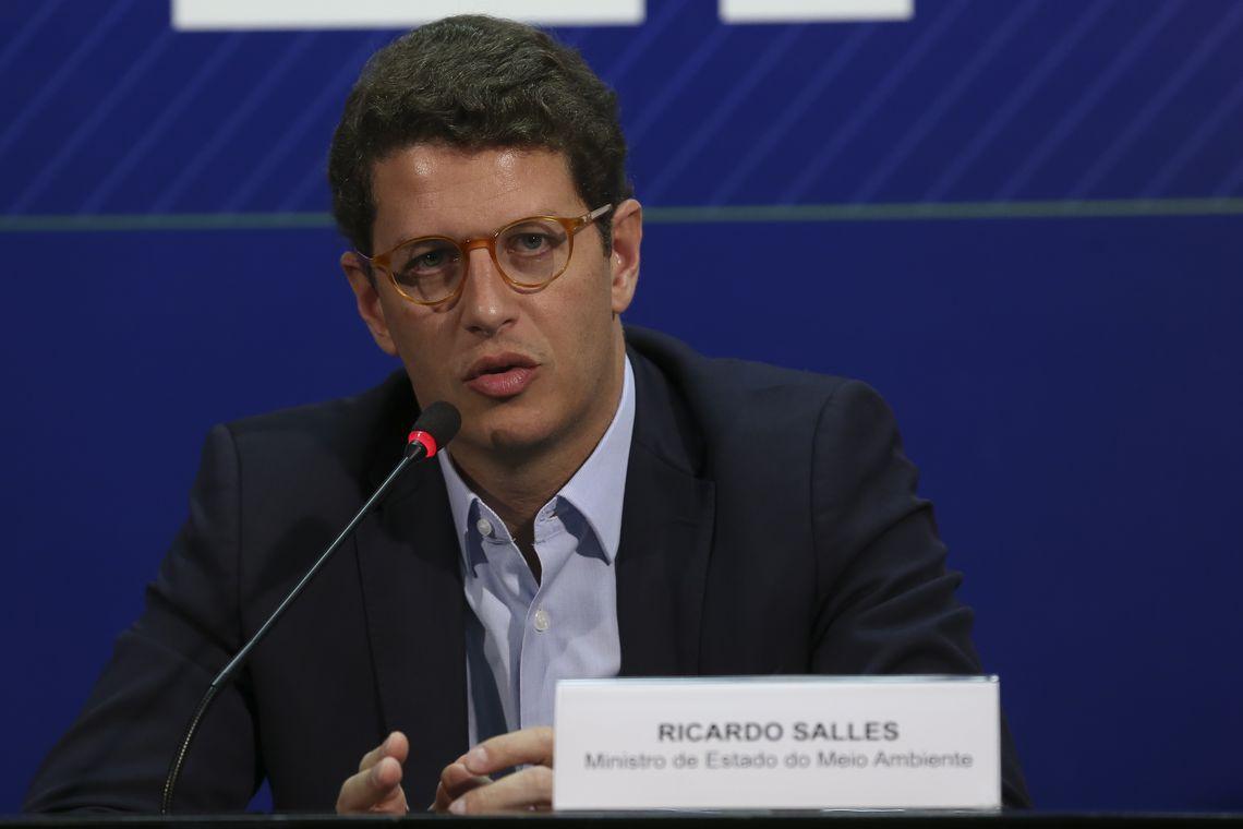 O  Ministro do Meio Ambiente, Ricardo Salles fala à imprensa, após reunião com os integrantes do Centro de Operações Conjuntas.