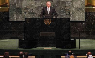 O presidente Michel Temer faz o discurso de abertura da 72ª Assembleia Geral da ONU - Beto Barata/PR