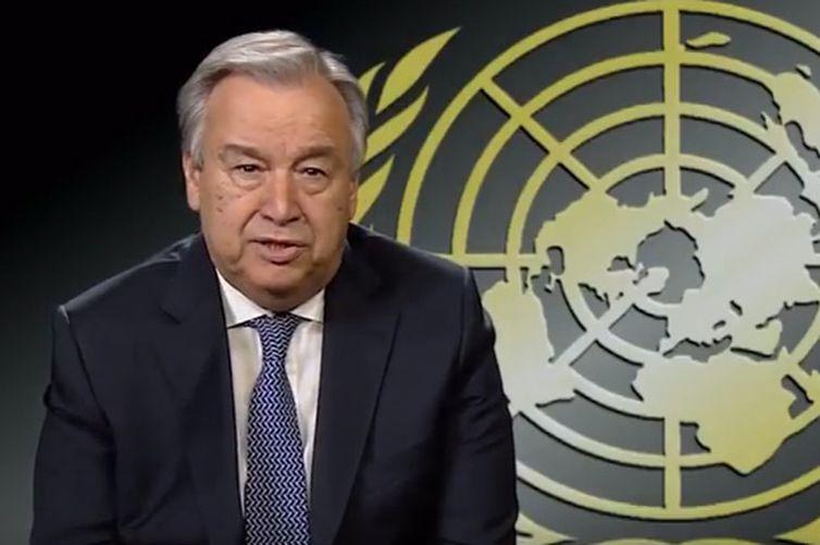 - O secretário-geral da ONU, António Guterres, é preciso o mundo se unir contra o terrorismo-  strong Foto: ONU/Reprodução vídeo /strong