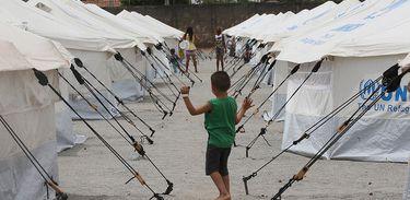 Acampamento de refugiados venezuelanos em Boa Vista, Roraima