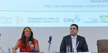 Secretária Nacional de Justiça Maria Hilda Marsiaj Pinto no lançamento do Relatório de Conjuntura com tendências da imigração e refúgio no Brasil