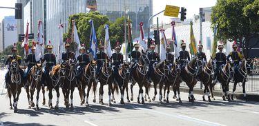 Desfile cívico-militar de 7 de Setembro no centro do Rio de Janeiro.