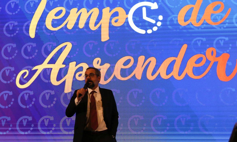 O ministro da Educação, Abraham Weintraub, participa do lançamento do programa Tempo de Aprender