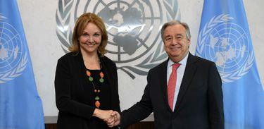 Josette Sheeran com o secretário-geral da ONU, António Guterres