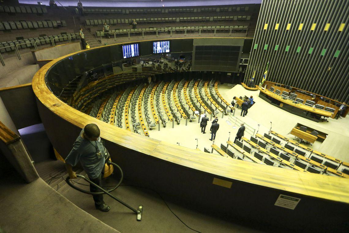 Preparativos para a posse dos parlamentares no Congresso Nacional, que ocorrerá amanhã, 01 de fevereiro