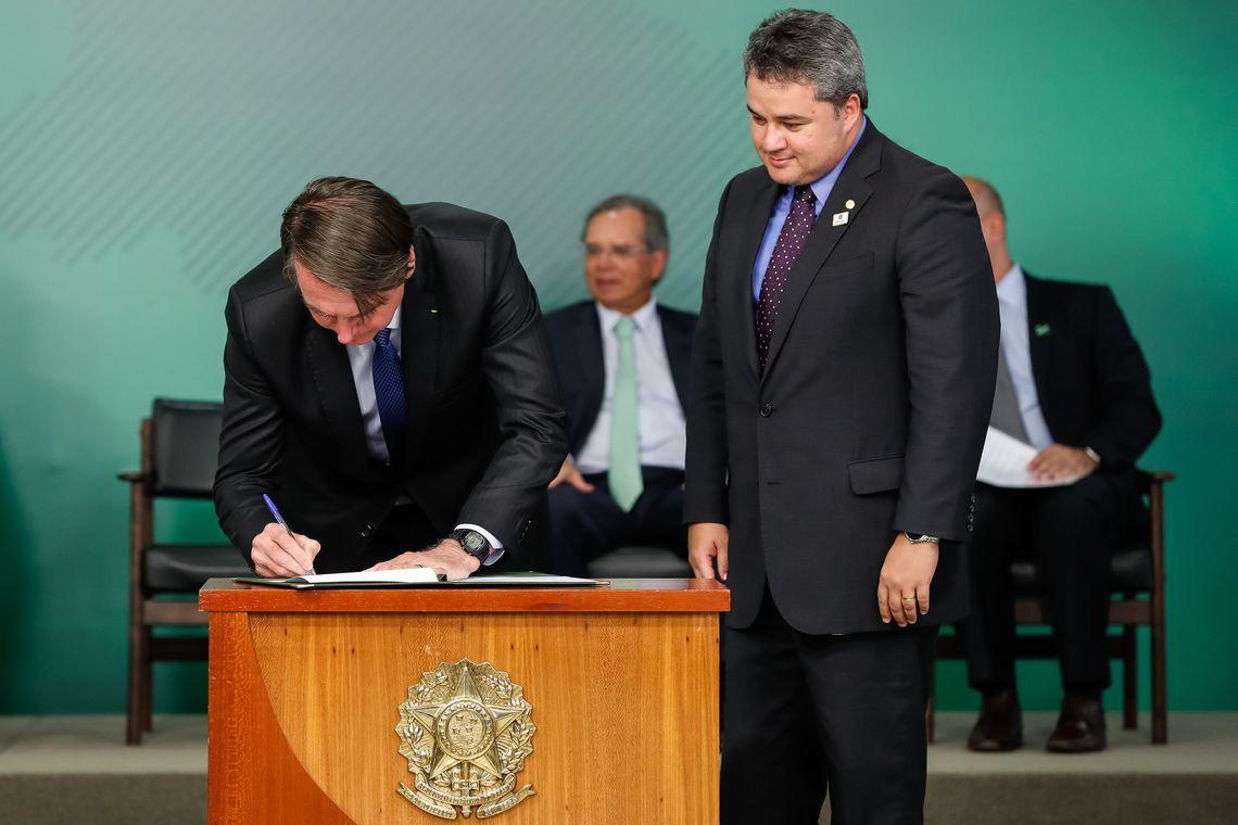 O presidente Jair Bolsonaro durante cerimônia de sanção da nova Lei do Cadastro Positivo, no Palácio do Planalto.