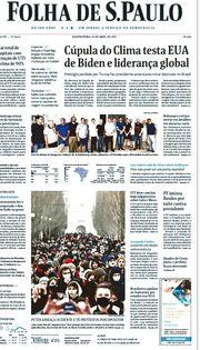 Capa do Jornal Folha de S. Paulo Edição 2021-04-22